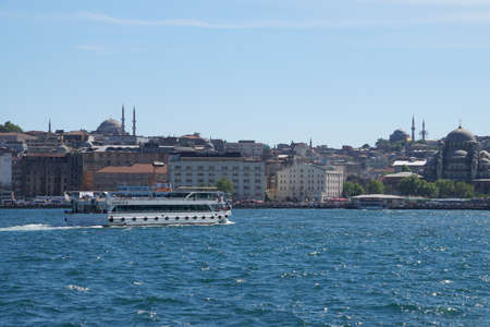 ferries: ISTANBUL - MAY 18, 2014 - Small ferries transport millions of people per day across the Sea of Marmara  in Istanbul, Turkey