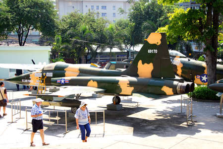 an era: SAIGON - FEB 5, 2015 - American F5A jet fighter from the Vietnamese war era,  War Remnants Museum, Saigon (Ho Chi Minh City),  Vietnam