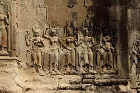 decorate: Apsara dancers decorate the interior courtyard walls of  Angkor Wat,  Cambodia