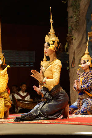 reap: SIEM REAP, CAMBODIA - FEB 14, 2015 - Apsara dancer performs at an evening recital,  Siem Reap,  Cambodia