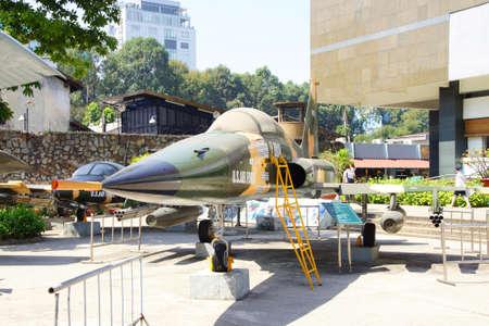 remnants: SAIGON - FEB 5, 2015 - American F5A jet fighter from the Vietnamese war era,  War Remnants Museum, Saigon (Ho Chi Minh City),  Vietnam