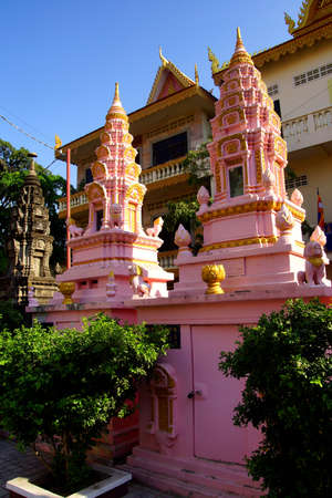 penh: Buddhist  stupas  outside the Langka Pagoda  temple, Phnom Penh Cambodia