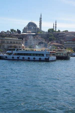 millions: ISTANBUL - MAY 18, 2014 - Small ferries transport millions of people per day across the Sea of Marmara  in Istanbul, Turkey