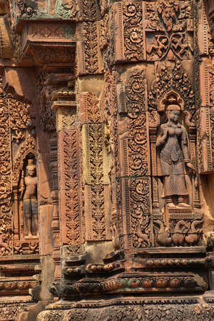 intricate: Apsara dancer on walls of intricate temple at  Banteay Srei, Cambodia