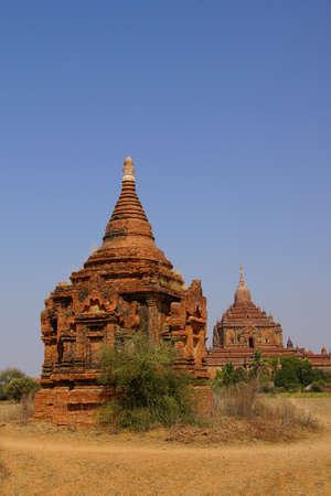 stupas: Red Sandstone stupas and temples, Bagan Myanmar (Burma) Stock Photo
