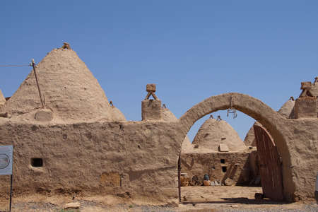 ecological adaptation: Traditional beehive mud brick houses and entry arch, Harran near the Syrian border, Turkey Stock Photo