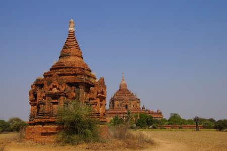 붉은 사암 stupas 및 사원, Bagan 미얀마 (버마)
