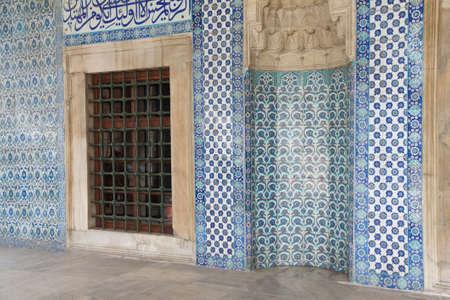 iznik: Iznik tile mosaics decorating the    Rustem Pasha Mosque,  in Istanbul, Turkey Stock Photo