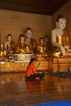 YANGON, BURMA - FEB 18, 2015 - Visitor prays and mediates at Shwedagon Pagoda,  Yangon (Rangoon),  Myanmar (Burma)