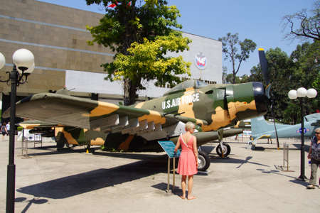 an era: SAIGON - FEB 5, 2015 - American A1 Skyraider fighter plane from the Vietnamese war era,  War Remnants Museum, Saigon (Ho Chi Minh City),  Vietnam Editorial