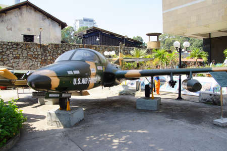 an era: SAIGON - FEB 5, 2015 - American A37 fighter bomber attack aircraft from the Vietnamese war era,  War Remnants Museum, Saigon (Ho Chi Minh City),  Vietnam