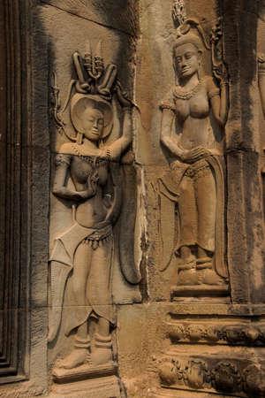 apsara: Apsara dancers decorate the interior courtyard walls of  Angkor Wat,  Cambodia