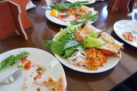 Kebab served in flat bread for lunch,  Antalya,  Turkey Фото со стока