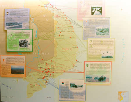 remnants: SAIGON - FEB 5, 2015 - Map showing deplyment and engagement battles of United States military during the Vietnamese War,   War Remnants Museum,