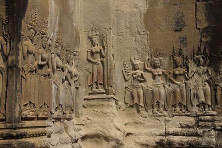 cambodia sculpture: Apsara dancers decorate the interior courtyard walls of  Angkor Wat,  Cambodia