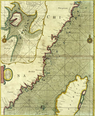Antique map of the coast of China from 18th century atlas Modified from the map released under Creative Commons license from the The New York Public Library