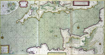 Antique map of the channel betrween England and France,  from 18th century atlas Modified from the map released under Creative Commons license from the The New York Public Library