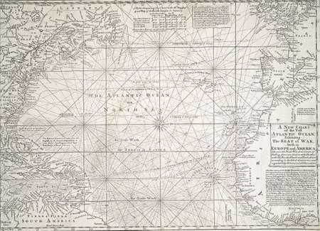 Antique map of the Atlantic Ocean,exhibiting the seat of war, both in Europe and America, circa 1755,  from 18th century atlas Modified from the map released under Creative Commons license from the The New York Public Library