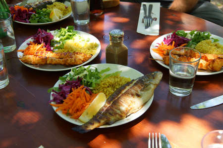 Fresh trout and kebabs and salad for lunch  at a restaurant  near Saklikent gorge,  Turkey