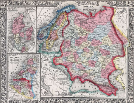 Antique map of Russia in Europe, Sweden, and Norway ; Map of Denmark; Map of Holland and Belgiumfrom 19th century atlas Modified from the map released under Creative Commons license from the The New York Public Library Imagens