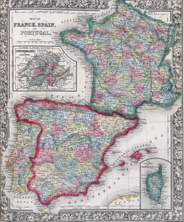 Antique map of Spain, France and Portugal from 19th century atlas Modified from the map released under Creative Commons license from the The New York Public Library