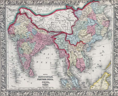 tibet: Antique map of Hindostan or India, from the best authorities.  from 19th century atlasModified from the map released under Creative Commons license from the Lionel Pincus & Princess Firyal Map Division, The New York Public Library