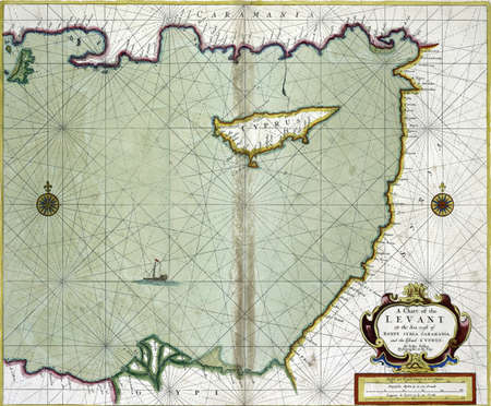 Chart of the Levant from Cyprus to Egypt, from 19th century atlas Modified from the map released under Creative Commons license from the The New York Public Library Stock Photo