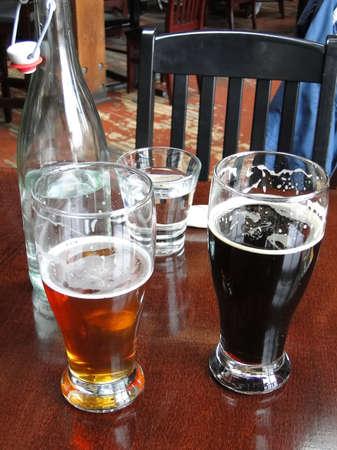 Local microbrews  in a brewpub  in Victoria, BC, Canada Stockfoto