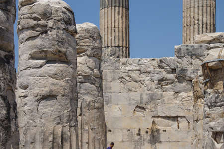 massive: Massive Ionian stone columns of the Apollo temple  at Didyma,  Turkey
