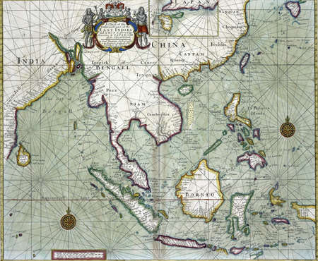 commons: Chart of the East Indies from India and China to Indonesia, from 19th century atlas.  Modified from the map released under Creative Commons license from the The New York Public Library
