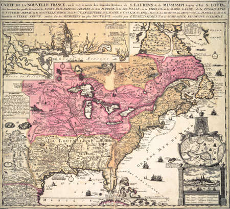 18th: Map of New France in America,  from 18th century atlas Modified from the map released under Creative Commons license from the The New York Public Library Stock Photo