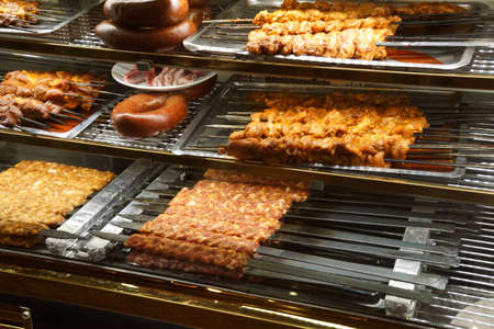 Kabobs and sausages on the grill,  Pergamum near Bergama, Turkey Stock Photo