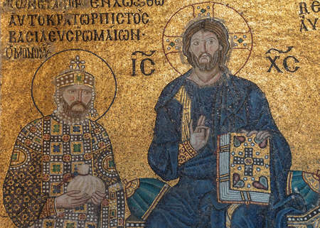 flanked: ISTANBUL - MAY 17, 2014 - Christ enthroned, flanked by  Constantine IX Monomachus, husband of Empress Zoe,  Byzantine mosaic in the gallery of  Hagia Sophia  in Istanbul, Turkey Editorial