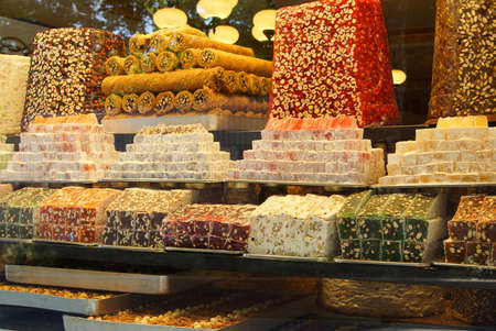 Turkish delight, lokum, on display in specialty shop  in Istanbul, Turkey