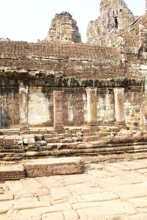 thom: Outer walls of  Bayon, Angkor Thom,  Cambodia