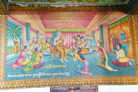 phnom penh: PHNOM PENH, CAMBODIA - FEB 8, 2015 - Scene from the life of the Buddha,  Langka Pagoda  temple,  Phnom Penh,   Cambodia
