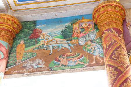 vejez: WAT Nokor, Camboya - 09 de febrero 2015 - Buda encuentra por primera vez la enfermedad, la vejez y la muerte, la pintura en Wat Nokor, siglo octavo, Camboya