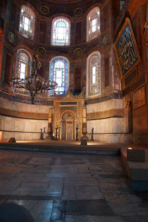niche: ISTANBUL, TURKEY - MAY 17, 2014 -Mihrab niche in the mosque of  Hagia Sophia  in Istanbul, Turkey