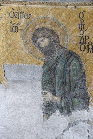 hagia sophia: ISTANBUL, TURKEY - MAY 17, 2014 -Byzantine mosaic in the gallery of  Hagia Sophia  in Istanbul, Turkey