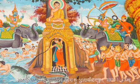 WAT NOKOR, CAMBODIA - FEB 9, 2015 - Scenes from Buddhas life adorn the walls of a temple at Wat Nokor, Wat Nokor, 8th century,  Cambodia