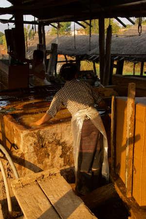 lye: Making bamboo paper sheets from pulp,  Kyaukme Myanmar (Burma)