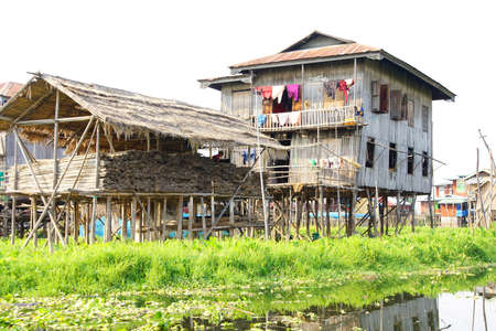 stilts: Traditional houses on stilts in a floating village on  Inle Lake,  Myanmar (Burma)