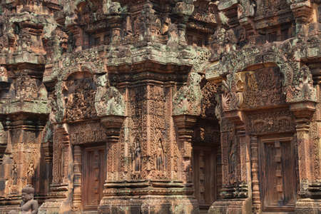 intricate: Intricate carvings cover the walls of the temple at Banteay Srei Cambodia