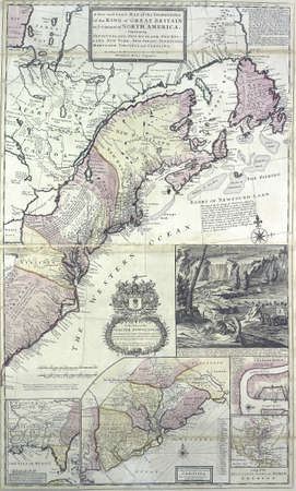 dominions: Antique map of the dominions of the King of Great Britain on the Continent of North America, circa 1715,  from 18th century atlas Modified from the map released under Creative Commons license from the The New York Public Library Editorial