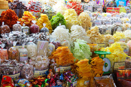 SAIGON - FEB 4, 2015 -  Colorful dried fruit for sale at the Ben Thanh market, Saigon (Ho Chi Minh City),  Vietnam