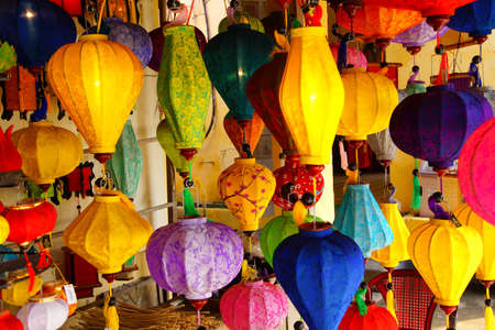 hoi an: Colorful paper lanterns in the ancient trading city of  Hoi An, Vietnam Stock Photo