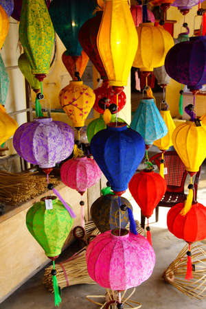 colorful paper lanterns in the ancient trading city of hoi an