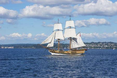 brig: KIRKLAND, WASHINGTON - AUG 31 - The wooden brig, Lady Washington, sails on Lake Washington   as part of Labor Day festivities on Aug 31, 2012 near Kirkland , Washington.