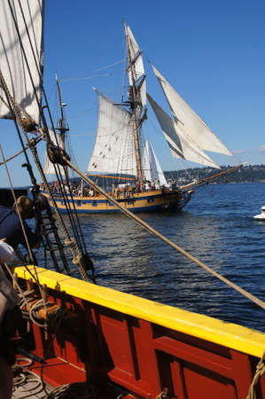 hermaphrodite: KIRKLAND, WASHINGTON - SEP 12, 2012 - The wooden hermaphrodite brig, Hawaiian Chieftain, sails on Lake Washington    during a mock sea battle as part of Labor Day festivities on Aug 31, 2012 near Kirkland , Washington. Editorial