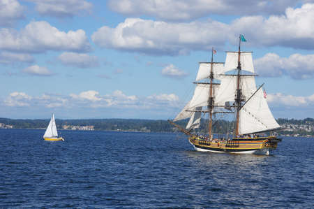 KIRKLAND, WASHINGTON - AUG 31 - The wooden brig, Lady Washington, sails on Lake Washington   as part of Labor Day festivities on Aug 31, 2012 near Kirkland , Washington.